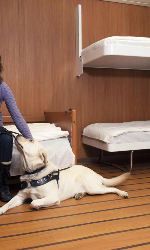 woman sits on bed with service dog on floor beside her